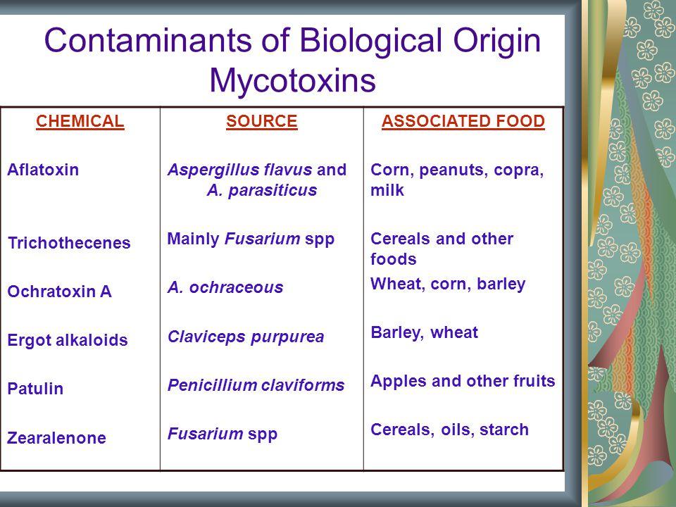 Contaminants of Biological Origin Mycotoxins CHEMICAL Aflatoxin Trichothecenes Ochratoxin A Ergot alkaloids Patulin Zearalenone SOURCE Aspergillus flavus and A.