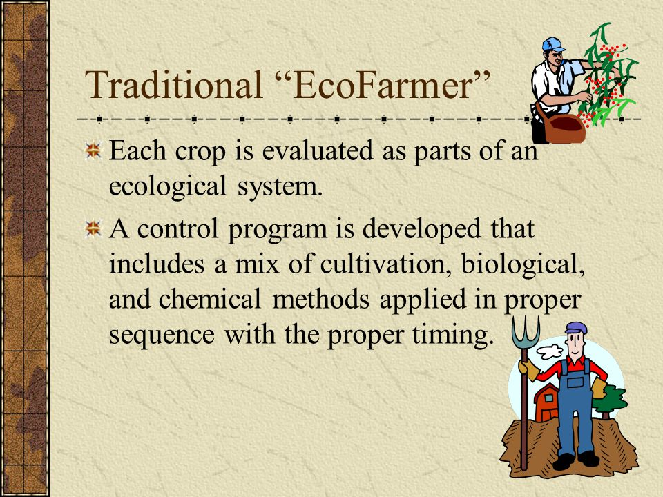 Traditional EcoFarmer Each crop is evaluated as parts of an ecological system.