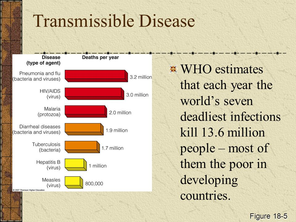 Transmissible Disease WHO estimates that each year the world's seven deadliest infections kill 13.6 million people – most of them the poor in developing countries.