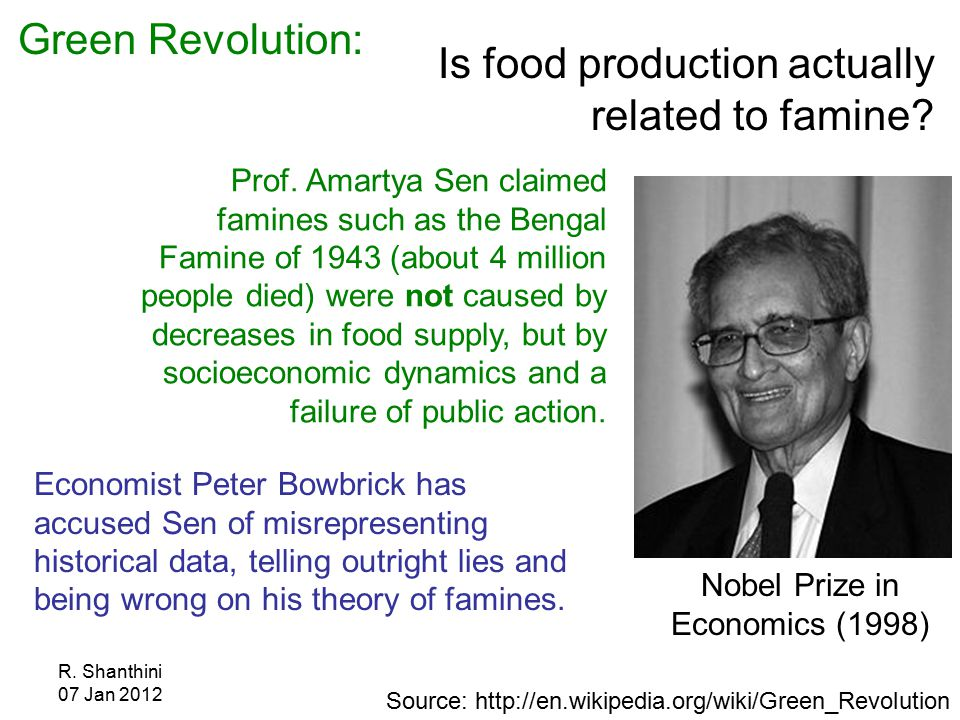 R. Shanthini 07 Jan 2012 Is food production actually related to famine.