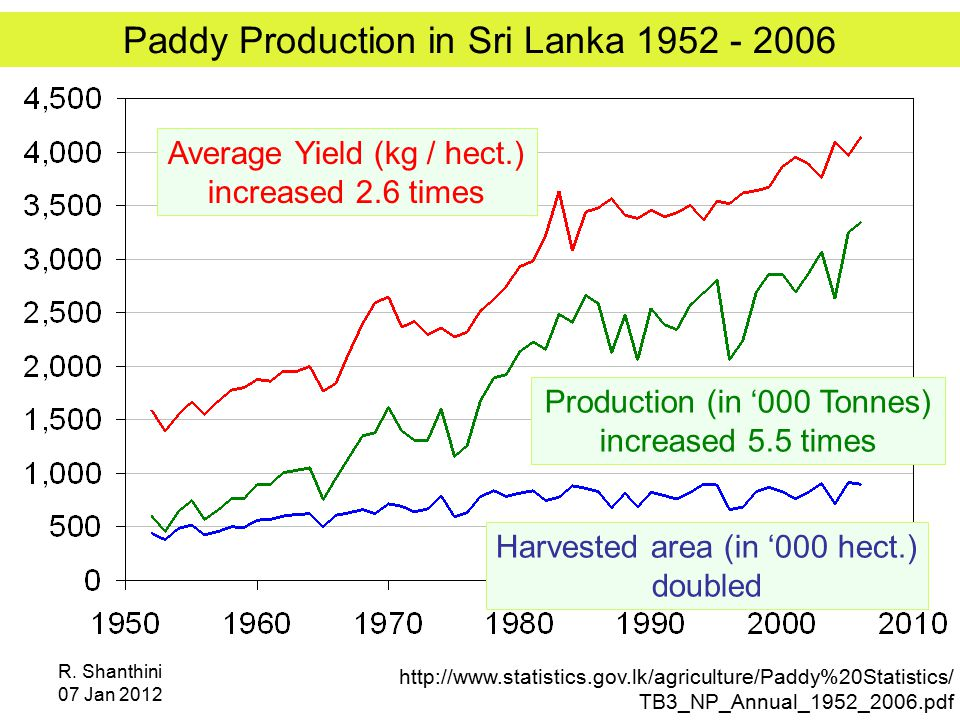 R. Shanthini 07 Jan 2012 Paddy Production in Sri Lanka 1952 - 2006 http://www.statistics.gov.lk/agriculture/Paddy%20Statistics/ TB3_NP_Annual_1952_200