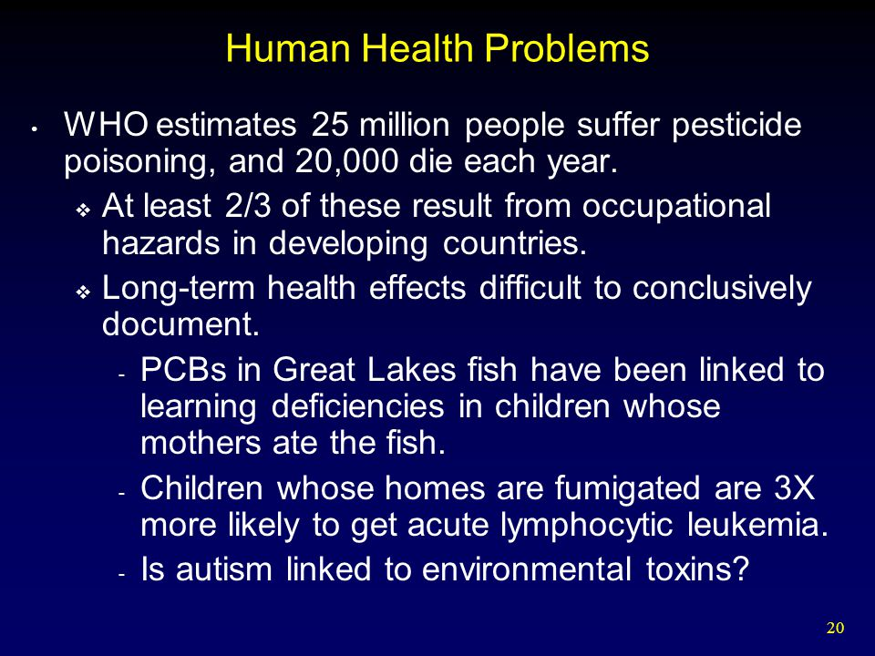 20 Human Health Problems WHO estimates 25 million people suffer pesticide poisoning, and 20,000 die each year.