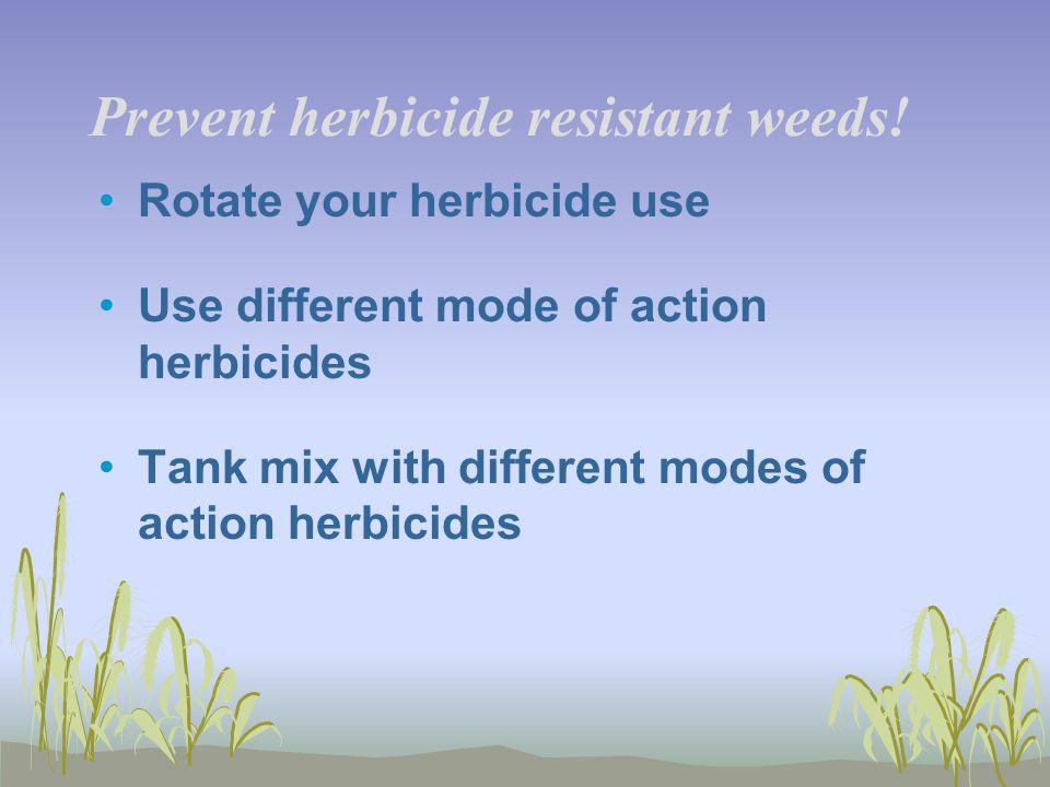 Prevent herbicide resistant weeds.