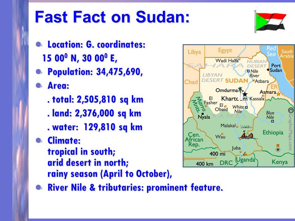 Fast Fact on Sudan: Location: G.