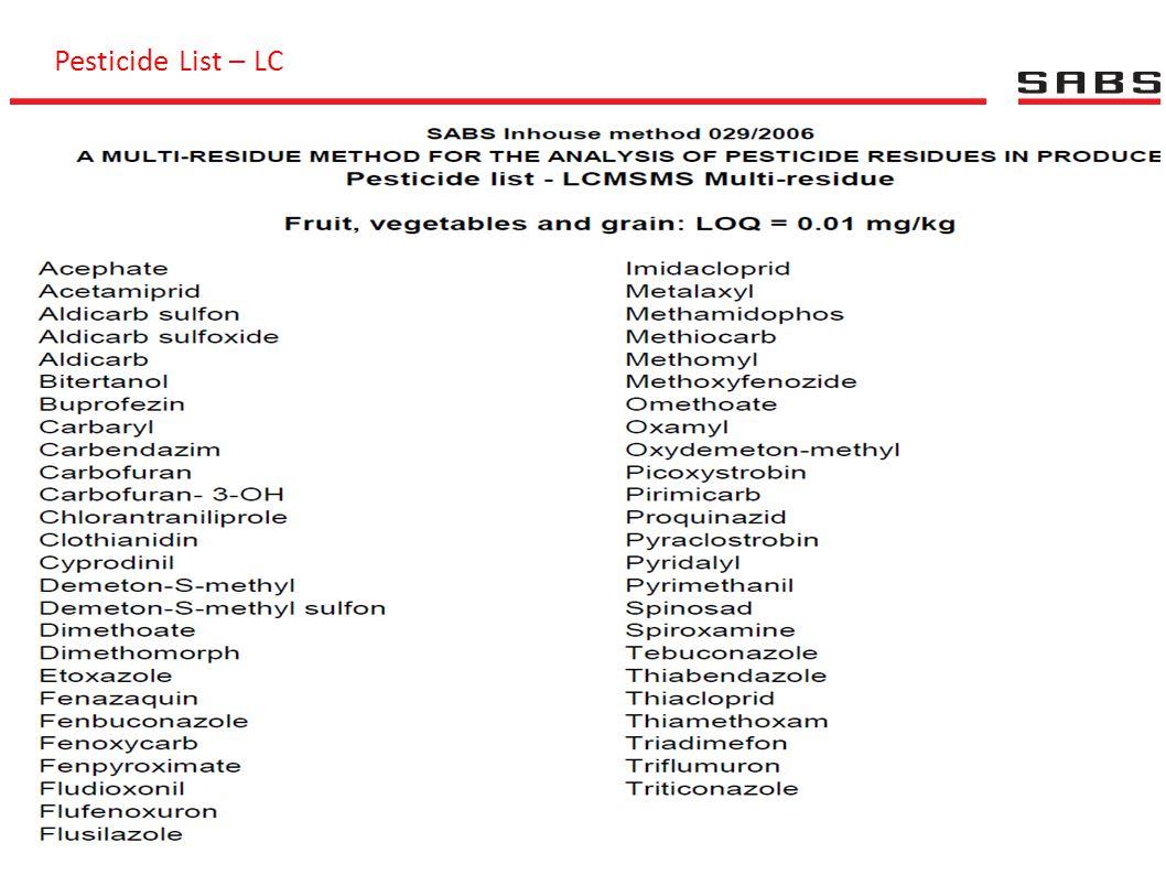 Pesticide List – LC