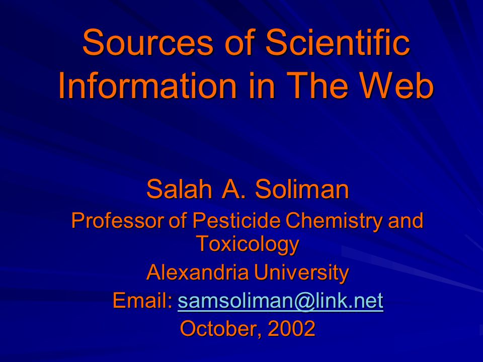 Sources of Scientific Information in The Web Salah A.