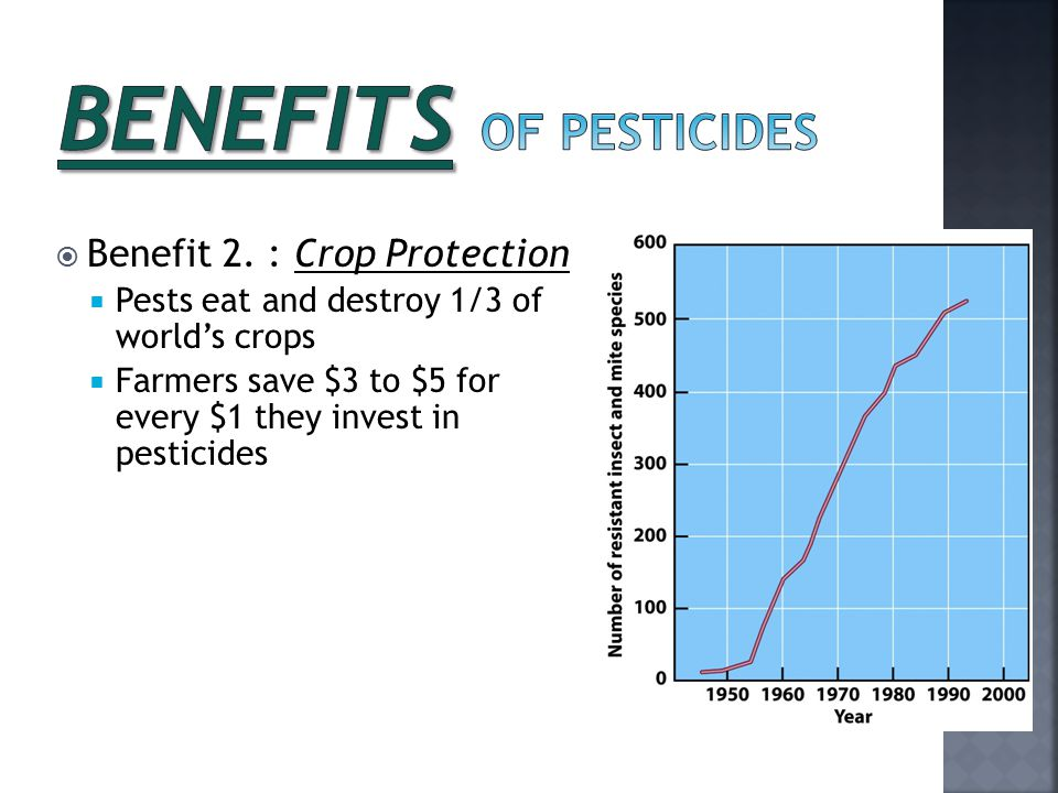  Benefit 2. : Crop Protection  Pests eat and destroy 1/3 of world's crops  Farmers save $3 to $5 for every $1 they invest in pesticides