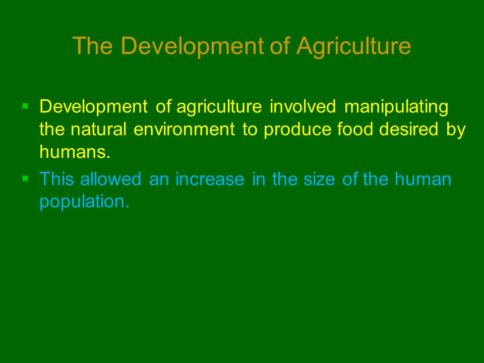 The Development of Agriculture  Development of agriculture involved manipulating the natural environment to produce food desired by humans.  This al