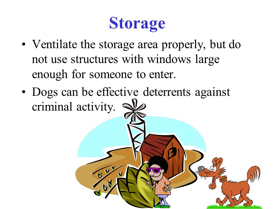 Storage Ventilate the storage area properly, but do not use structures with windows large enough for someone to enter.