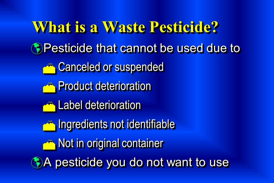 Top Ten Waste Pesticides 1.Dinoseb 2. DDT 3. 2,4-D 4.