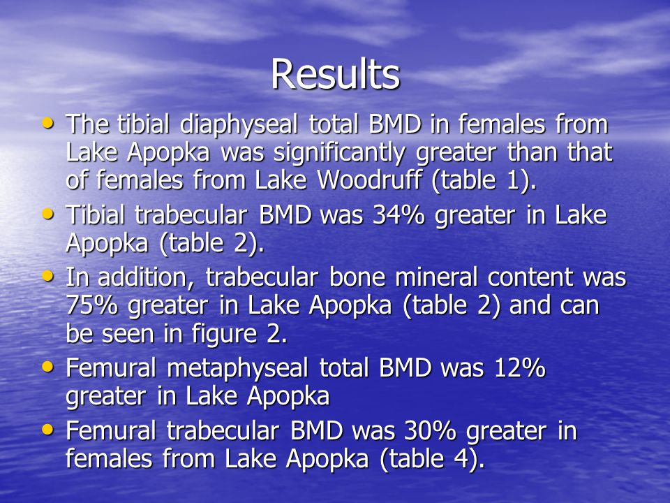 Results The tibial diaphyseal total BMD in females from Lake Apopka was significantly greater than that of females from Lake Woodruff (table 1). The t