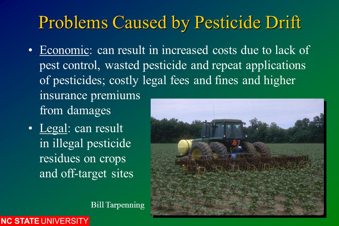 Factors Affecting Pesticide Drift Pesticide Formulation: dusts and wettable powders easily carried in air; granules and pellets are heavier and settle out of air Particle Size: smaller droplets and dust particles drift farther than larger ones Spray Pattern: use nozzles that produce narrower spray-fan angle USDA/ARS