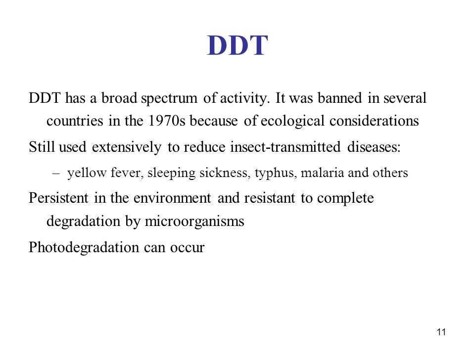 11 DDT DDT has a broad spectrum of activity.