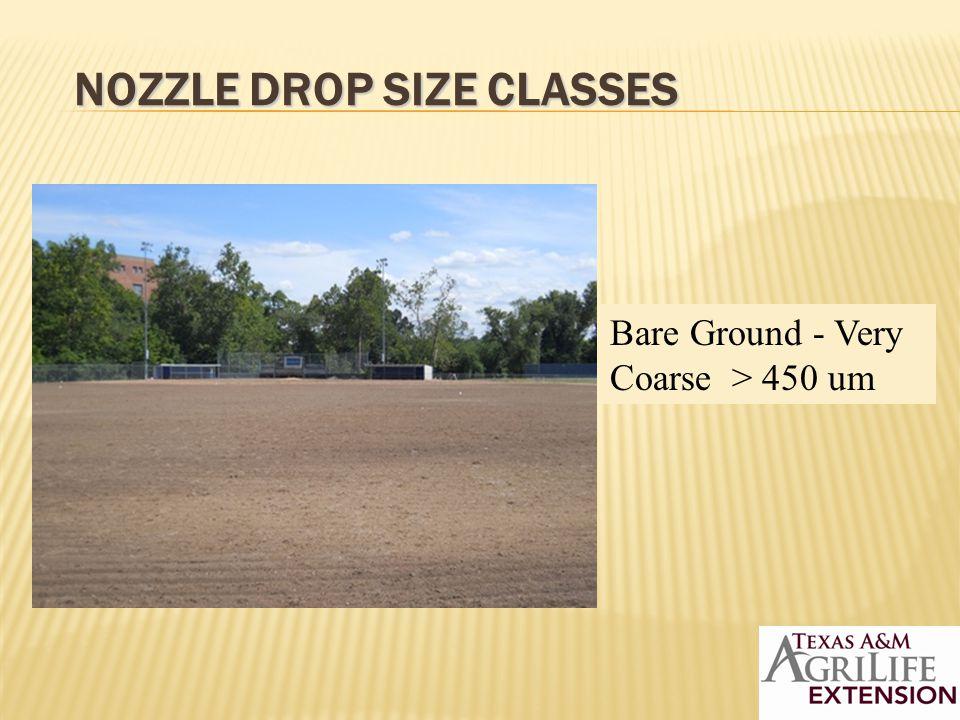 NOZZLE DROP SIZE CLASSES Bare Ground - Very Coarse > 450 um