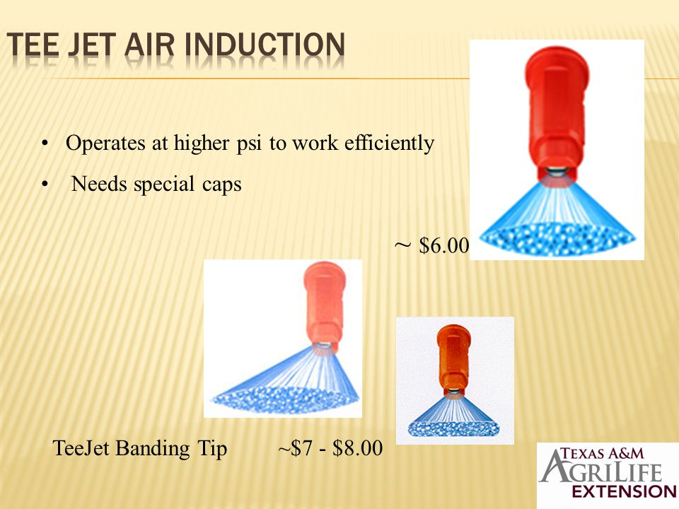 TeeJet Banding Tip ~$7 - $8.00 Operates at higher psi to work efficiently Needs special caps ~ $6.00