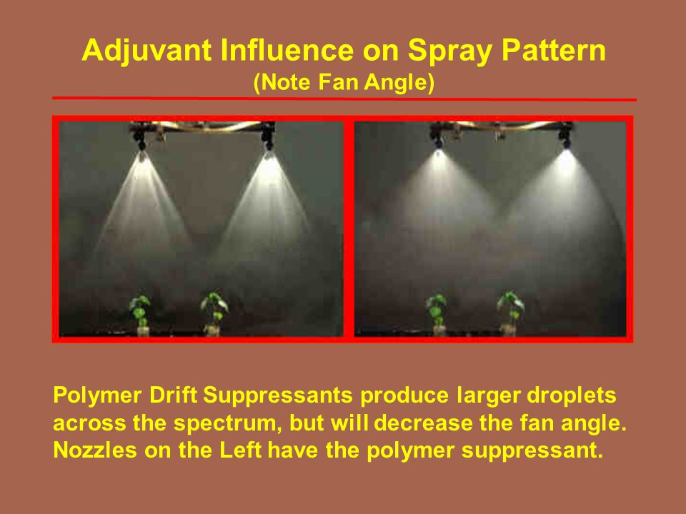 Polymer Drift Suppressants produce larger droplets across the spectrum, but will decrease the fan angle. Nozzles on the Left have the polymer suppress