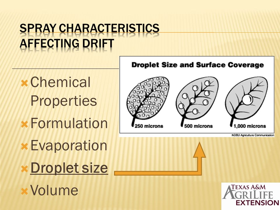 NOZZLE DROP SIZE CLASSES To kill insects, fungus and bacteria use Very Fine to Fine droplets: < 200 um