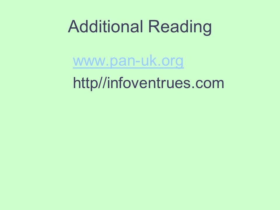 Additional Reading www.pan-uk.org http//infoventrues.com