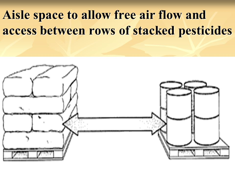 Aisle space to allow free air flow and access between rows of stacked pesticides