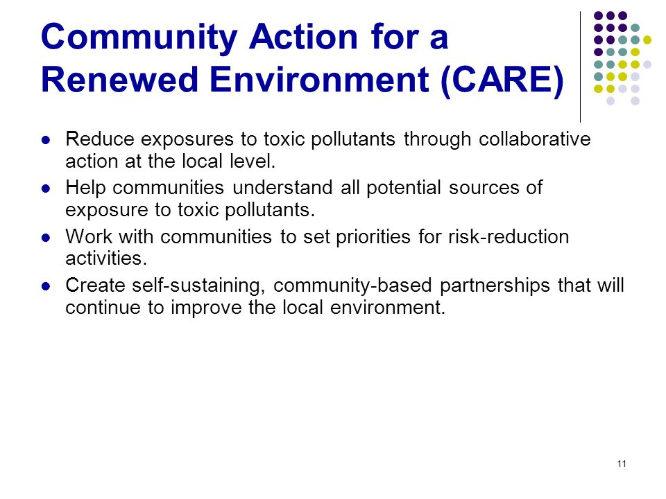 11 Community Action for a Renewed Environment (CARE) Reduce exposures to toxic pollutants through collaborative action at the local level.