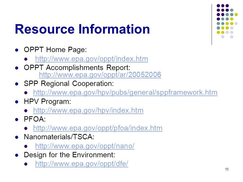 15 Resource Information OPPT Home Page: http://www.epa.gov/oppt/index.htm OPPT Accomplishments Report: http://www.epa.gov/oppt/ar/20052006 http://www.epa.gov/oppt/ar/20052006 SPP Regional Cooperation: http://www.epa.gov/hpv/pubs/general/sppframework.htm HPV Program: http://www.epa.gov/hpv/index.htm PFOA: http://www.epa.gov/oppt/pfoa/index.htm Nanomaterials/TSCA: http://www.epa.gov/oppt/nano/ Design for the Environment: http://www.epa.gov/oppt/dfe/