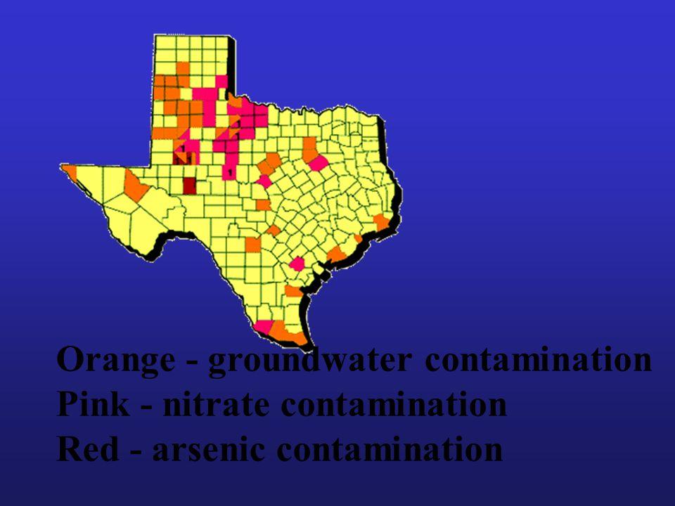 Orange - groundwater contamination Pink - nitrate contamination Red - arsenic contamination