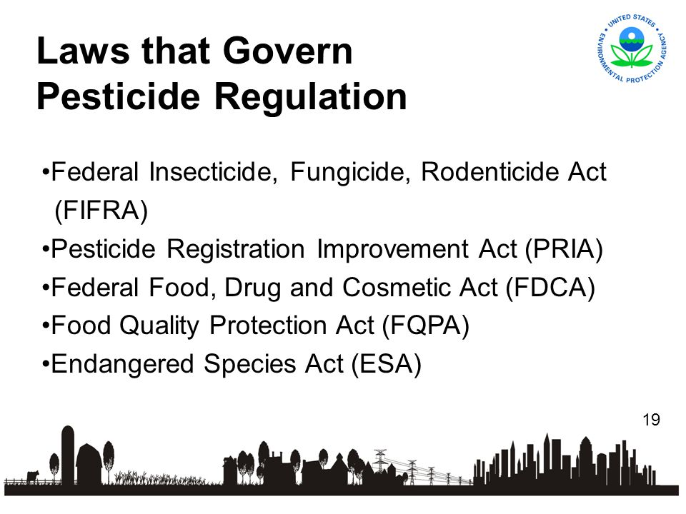 19 Federal Insecticide, Fungicide, Rodenticide Act (FIFRA) Pesticide Registration Improvement Act (PRIA) Federal Food, Drug and Cosmetic Act (FDCA) Food Quality Protection Act (FQPA) Endangered Species Act (ESA) Laws that Govern Pesticide Regulation
