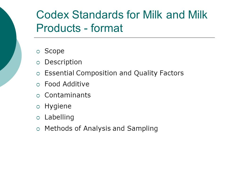 Codex Standards for Milk and Milk Products - format  Scope  Description  Essential Composition and Quality Factors  Food Additive  Contaminants  Hygiene  Labelling  Methods of Analysis and Sampling