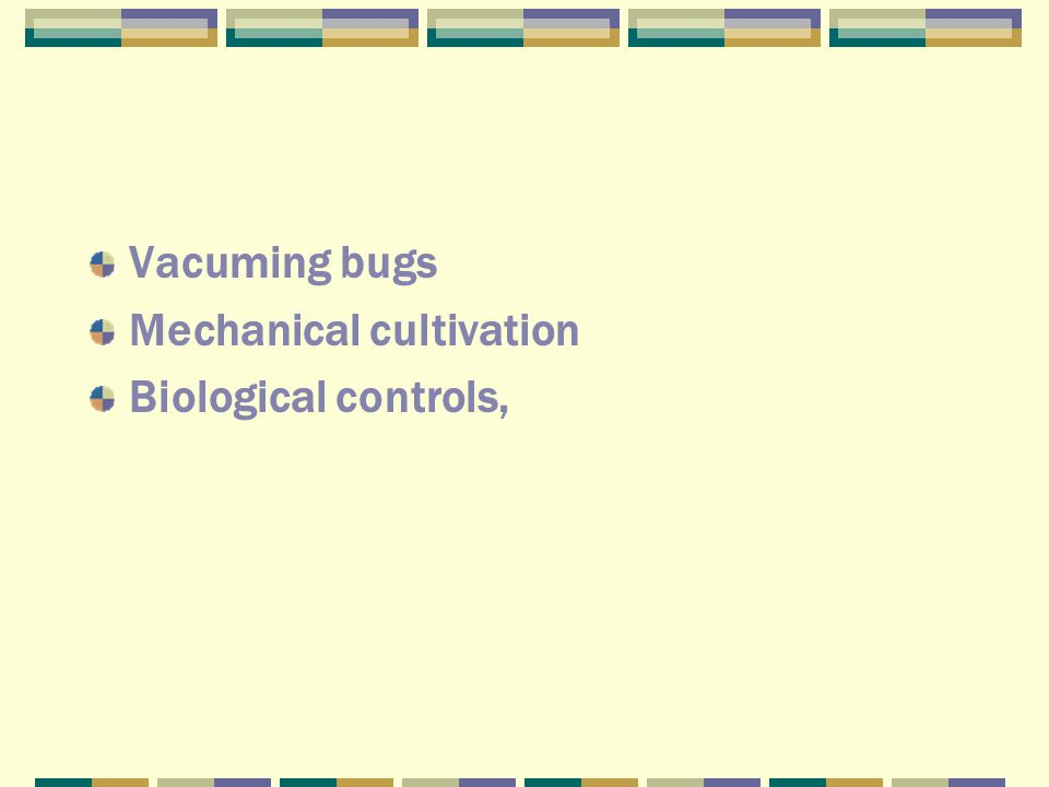 Vacuming bugs Mechanical cultivation Biological controls,