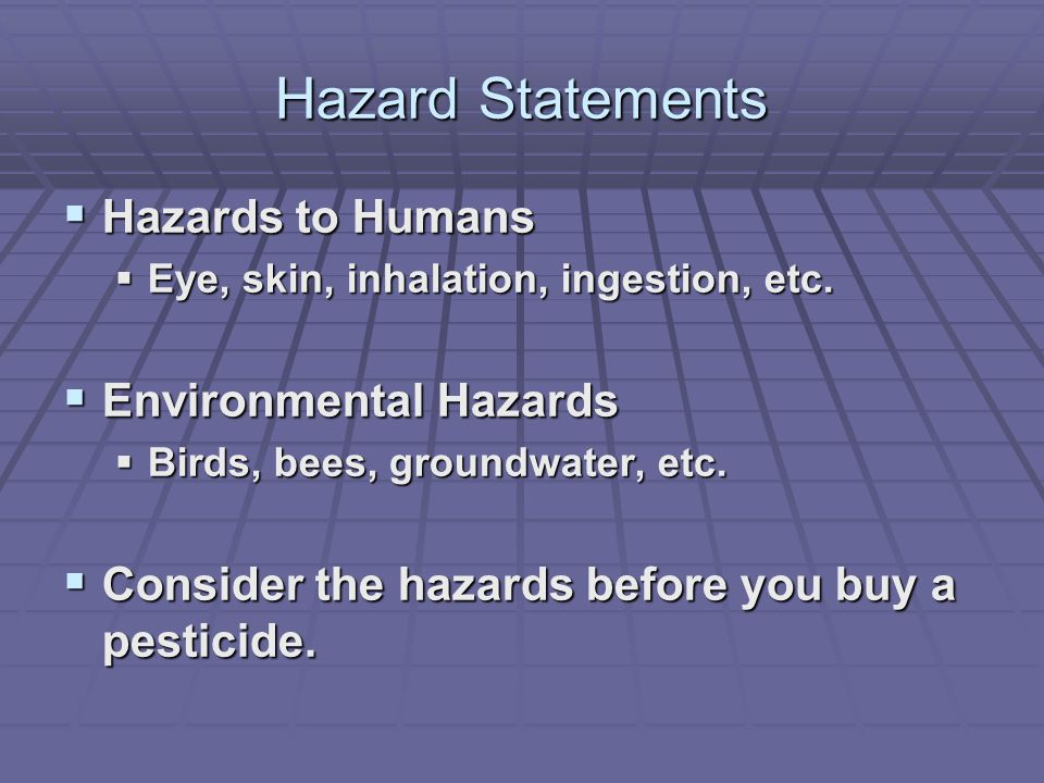 Hazard Statements  Hazards to Humans  Eye, skin, inhalation, ingestion, etc.  Environmental Hazards  Birds, bees, groundwater, etc.  Consider the