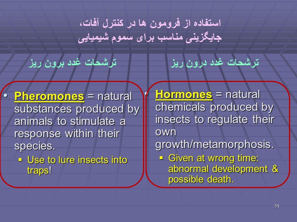 51 استفاده از فرومون ها در کنترل آفات، جایگزینی مناسب برای سموم شیمیایی Pheromones = natural substances produced by animals to stimulate a response within their species.
