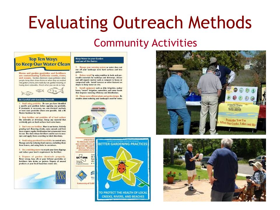 Evaluating Outreach Methods Community Activities