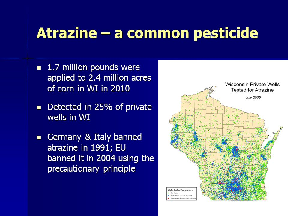 1.7 million pounds were applied to 2.4 million acres of corn in WI in 2010 1.7 million pounds were applied to 2.4 million acres of corn in WI in 2010 Detected in 25% of private wells in WI Detected in 25% of private wells in WI Germany & Italy banned atrazine in 1991; EU banned it in 2004 using the precautionary principle Germany & Italy banned atrazine in 1991; EU banned it in 2004 using the precautionary principle Atrazine – a common pesticide