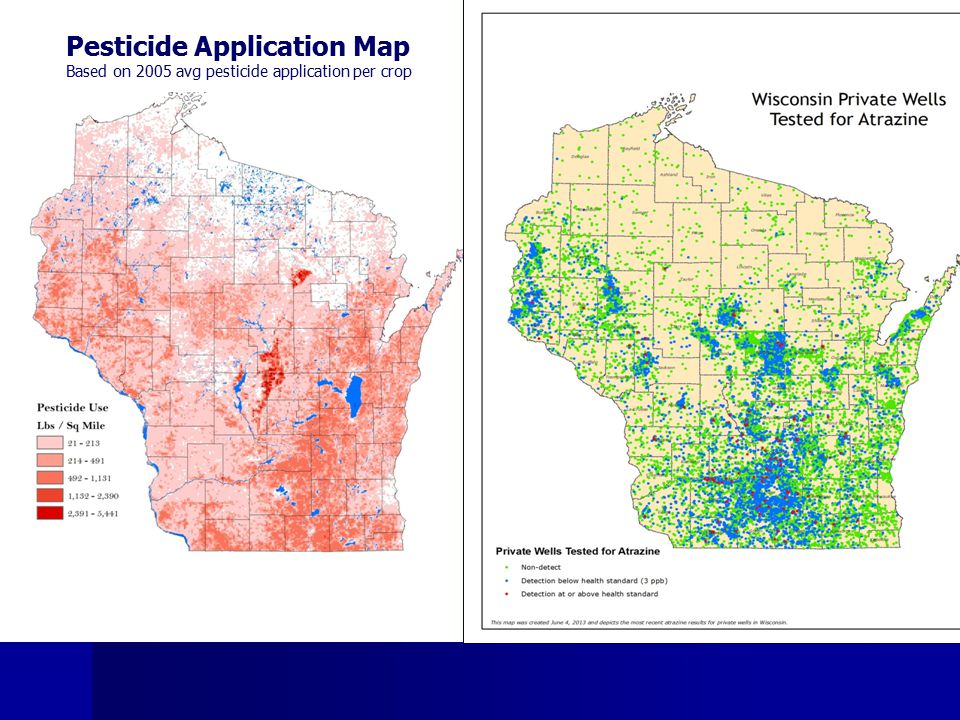 Pesticide Application Map Based on 2005 avg pesticide application per crop
