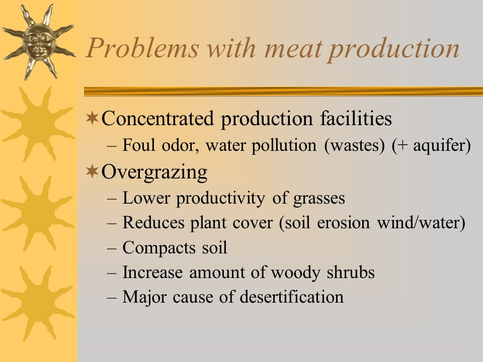 Problems with meat production  Concentrated production facilities –Foul odor, water pollution (wastes) (+ aquifer)  Overgrazing –Lower productivity of grasses –Reduces plant cover (soil erosion wind/water) –Compacts soil –Increase amount of woody shrubs –Major cause of desertification