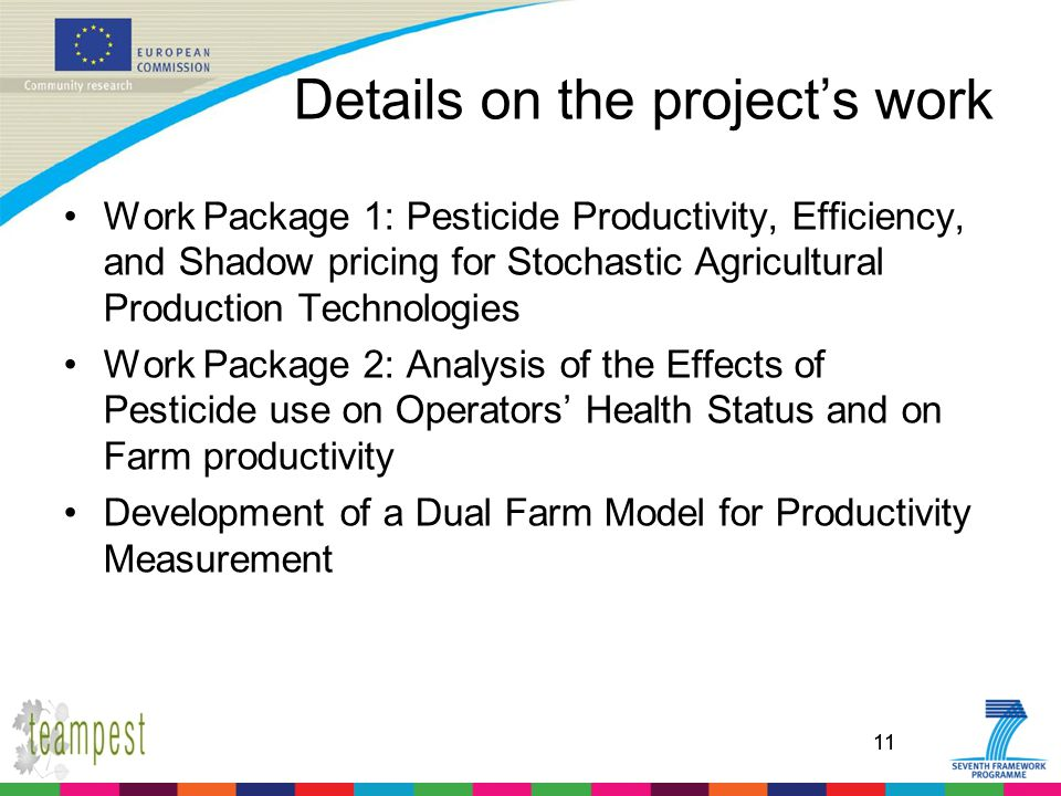 11 Details on the project's work Work Package 1: Pesticide Productivity, Efficiency, and Shadow pricing for Stochastic Agricultural Production Technol