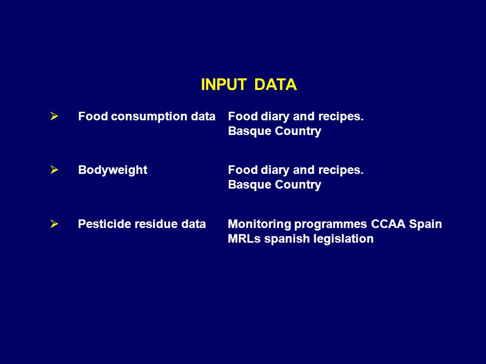 INPUT DATA  Food consumption dataFood diary and recipes. Basque Country  BodyweightFood diary and recipes. Basque Country  Pesticide residue dataMo