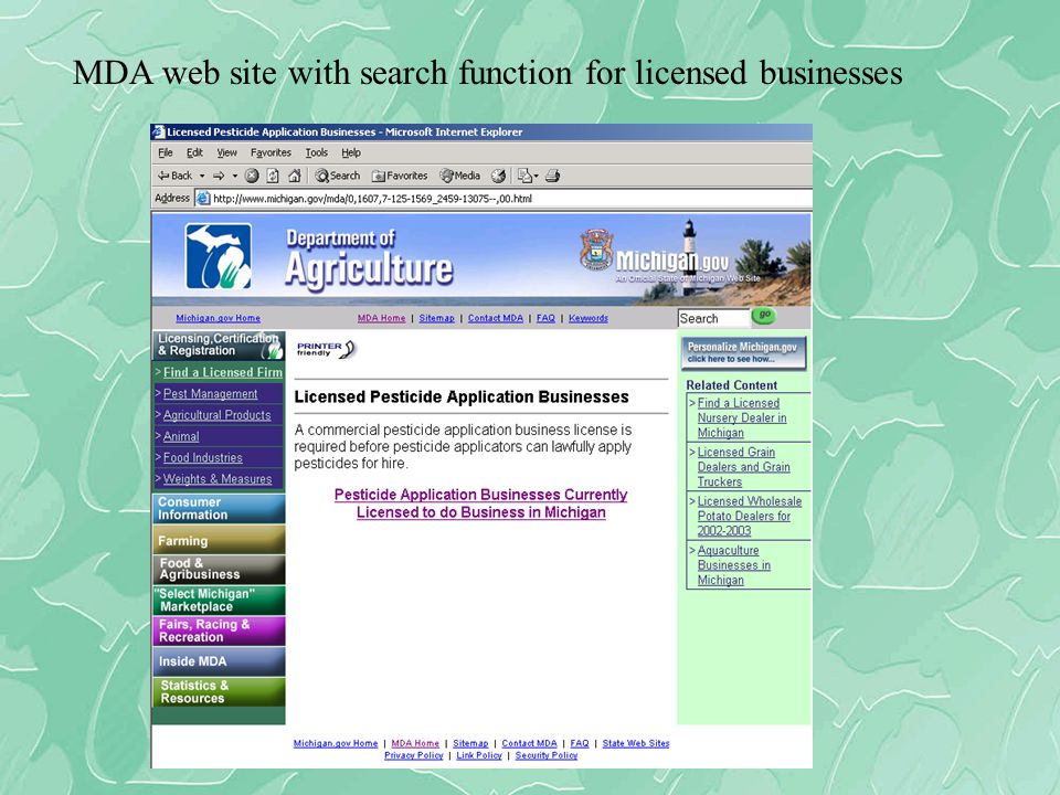 MDA web site with search function for licensed businesses