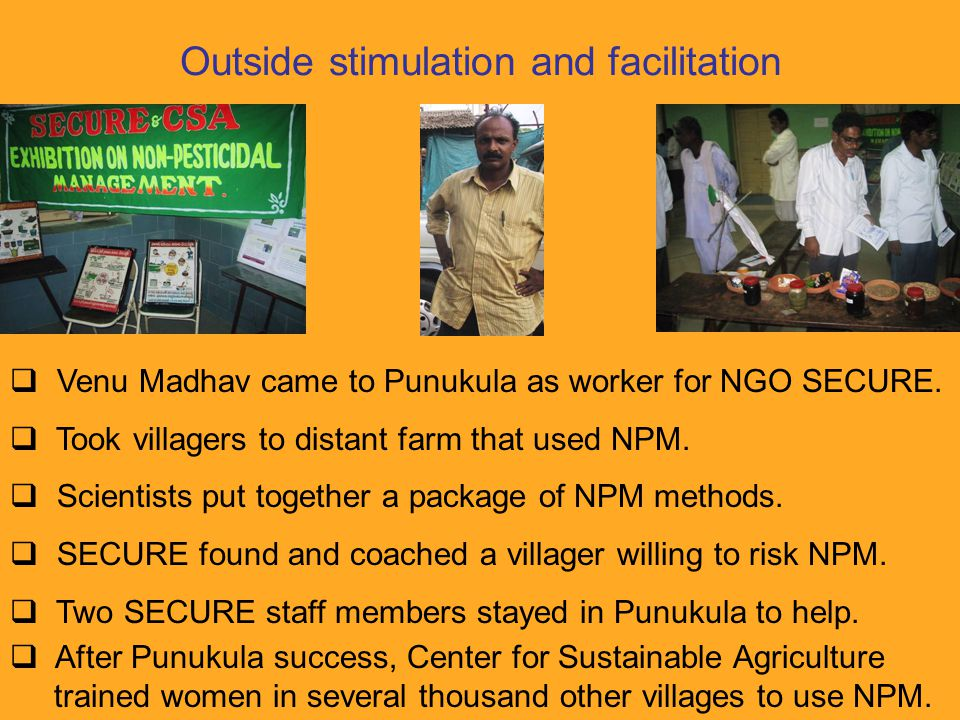 Outside stimulation and facilitation  Venu Madhav came to Punukula as worker for NGO SECURE.