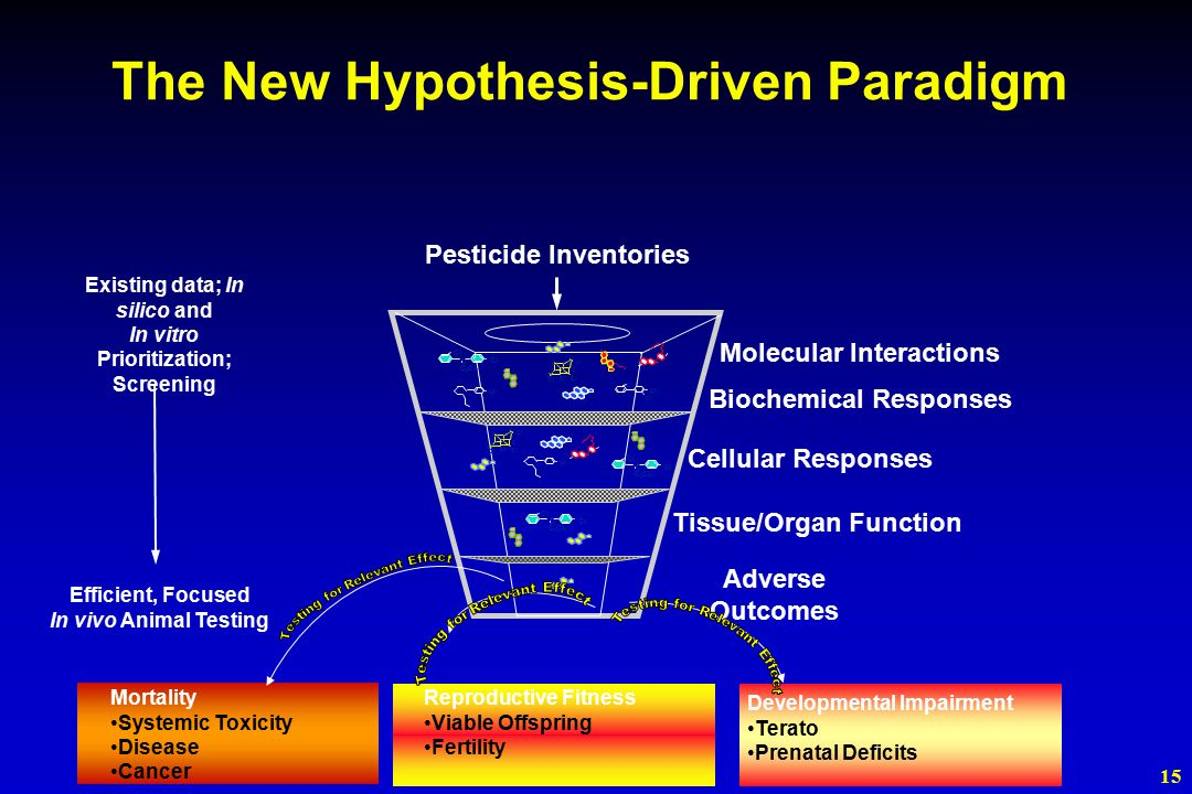15 Mortality Systemic Toxicity Disease Cancer Developmental Impairment Terato Prenatal Deficits Reproductive Fitness Viable Offspring Fertility Molecular Interactions Biochemical Responses Cellular Responses Tissue/Organ Function Pesticide Inventories C 2 Cl 3 Cl C C 2 Cl 3 Cl C C 2 Cl 3 Cl C ClCl ClCl ClCl ClCl OH The New Hypothesis-Driven Paradigm Existing data; In silico and In vitro Prioritization; Screening Adverse Outcomes Efficient, Focused In vivo Animal Testing