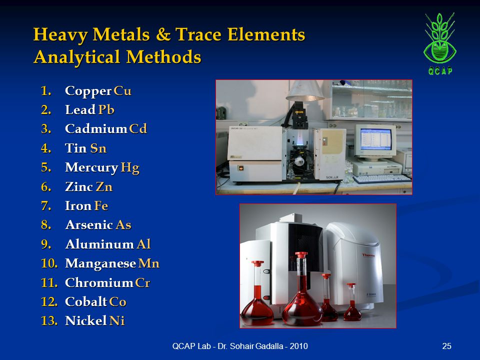 25QCAP Lab - Dr. Sohair Gadalla - 2010 Heavy Metals & Trace Elements Analytical Methods 1.Copper Cu 2.Lead Pb 3.Cadmium Cd 4.Tin Sn 5.Mercury Hg 6.Zin