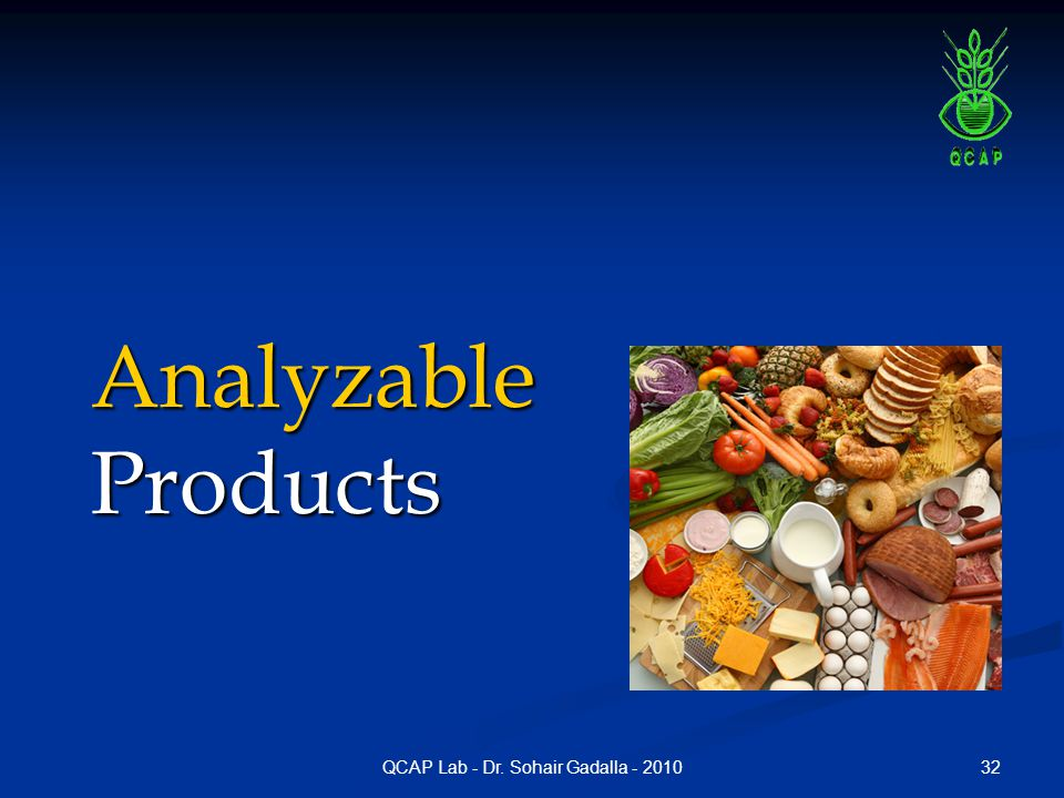 32QCAP Lab - Dr. Sohair Gadalla - 2010 AnalyzableProducts