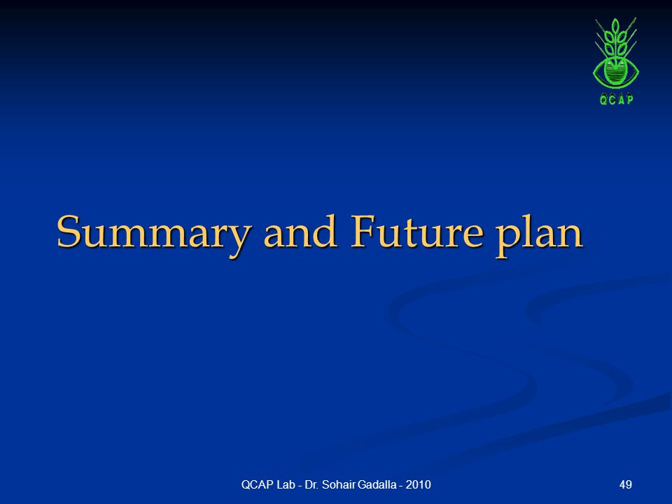 49QCAP Lab - Dr. Sohair Gadalla - 2010 Summary and Future plan