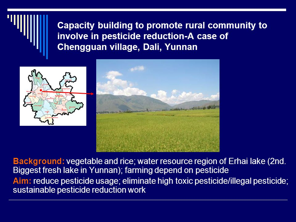 Capacity building to promote rural community to involve in pesticide reduction-A case of Chengguan village, Dali, Yunnan Background: vegetable and rice; water resource region of Erhai lake (2nd.
