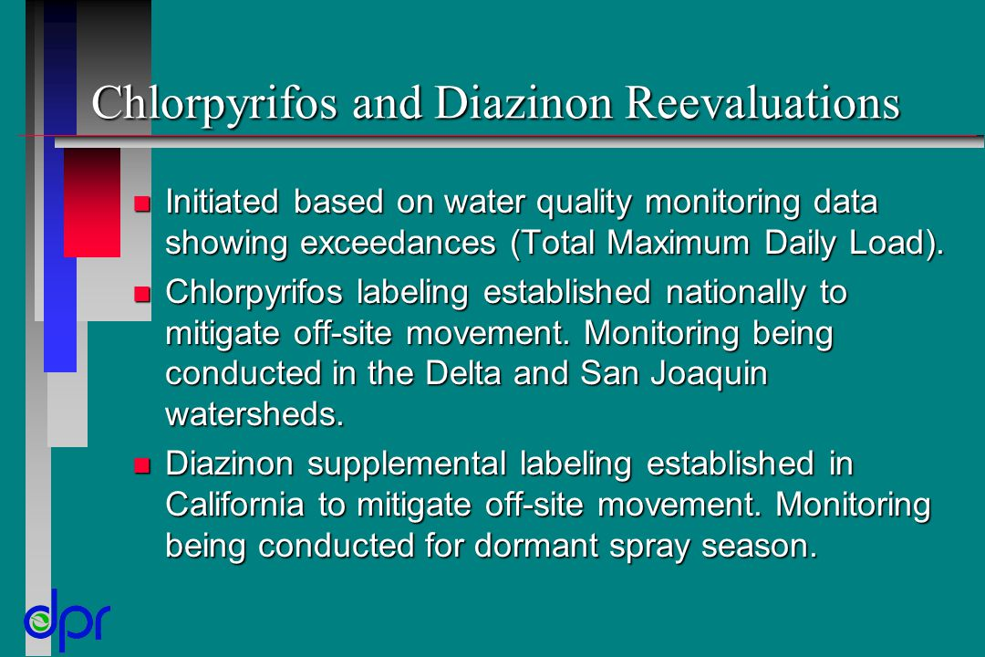 Chlorpyrifos and Diazinon Reevaluations n Initiated based on water quality monitoring data showing exceedances (Total Maximum Daily Load). n Chlorpyri