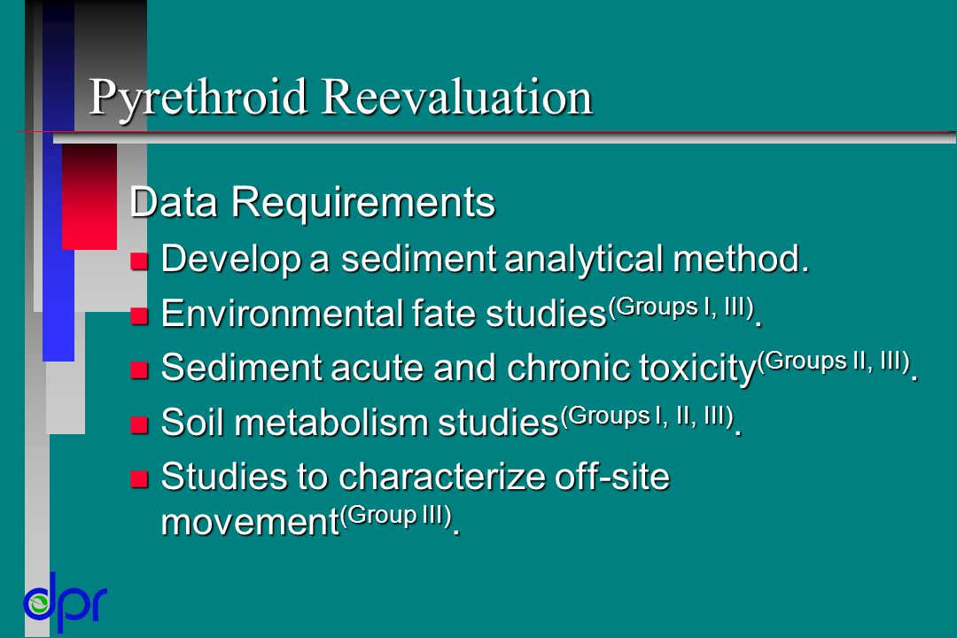 Pyrethroid Reevaluation Data Requirements n Develop a sediment analytical method. n Environmental fate studies (Groups I, III). n Sediment acute and c