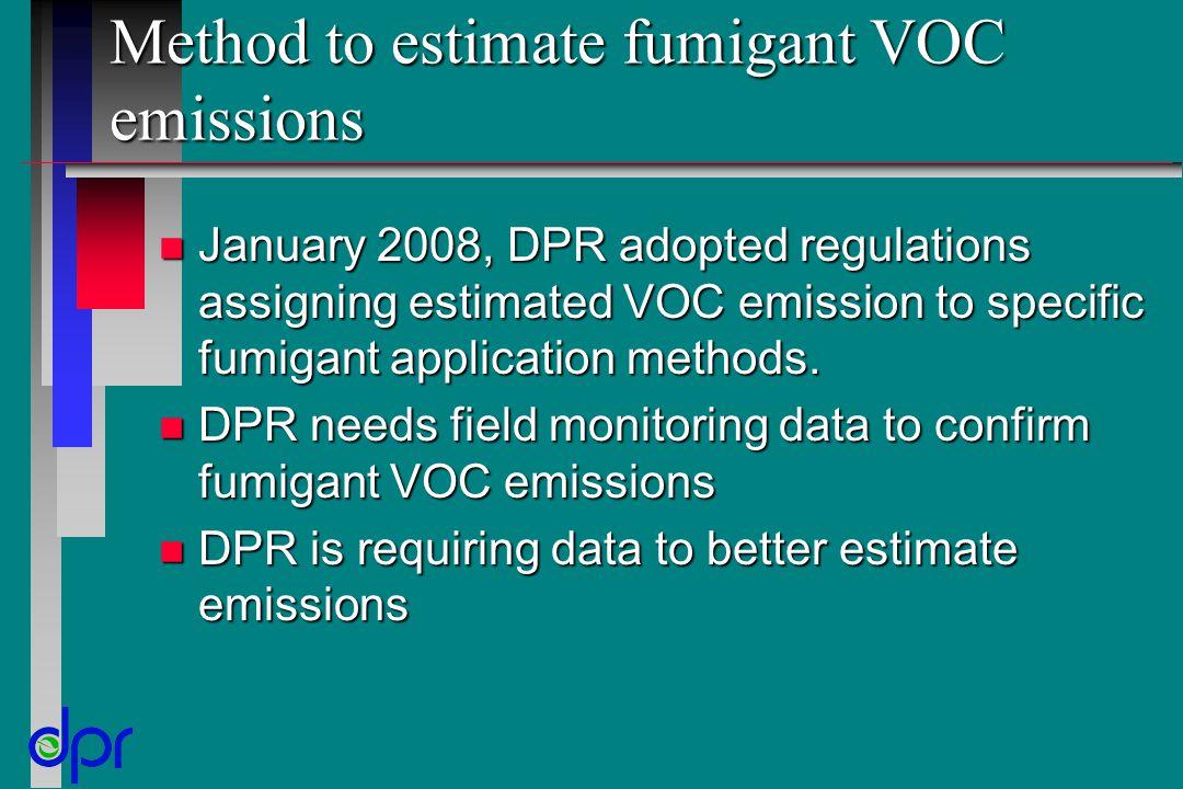 Method to estimate fumigant VOC emissions n January 2008, DPR adopted regulations assigning estimated VOC emission to specific fumigant application me