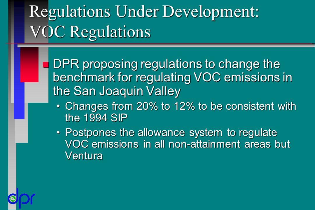 Regulations Under Development: VOC Regulations n DPR proposing regulations to change the benchmark for regulating VOC emissions in the San Joaquin Val