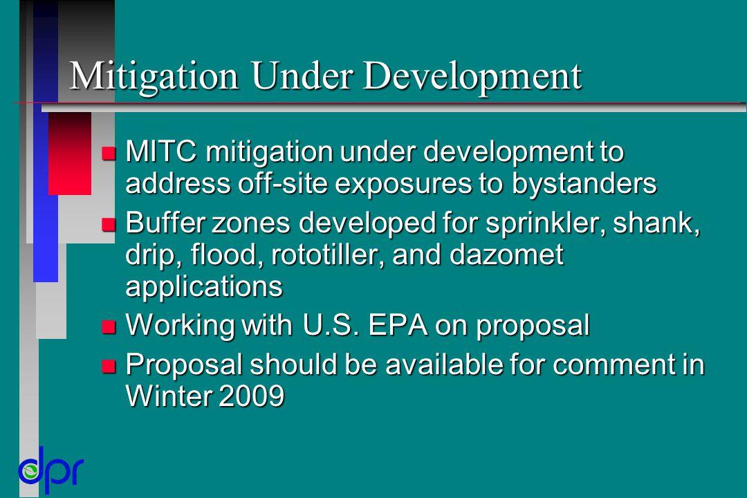 Mitigation Under Development n MITC mitigation under development to address off-site exposures to bystanders n Buffer zones developed for sprinkler, s