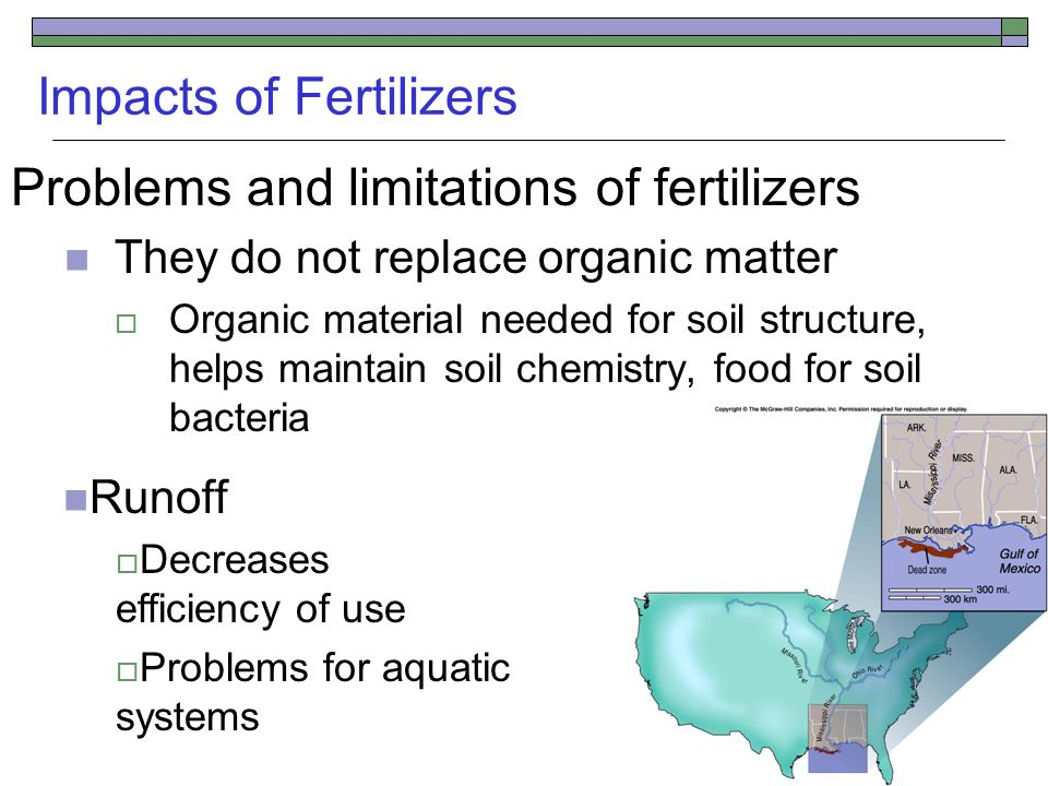 Impacts of Fertilizers Problems and limitations of fertilizers They do not replace organic matter  Organic material needed for soil structure, helps maintain soil chemistry, food for soil bacteria Runoff  Decreases efficiency of use  Problems for aquatic systems